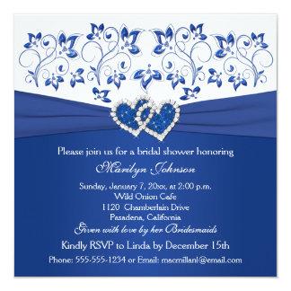 Azul real, ducha nupcial de los corazones florales invitación 13,3 cm x 13,3cm