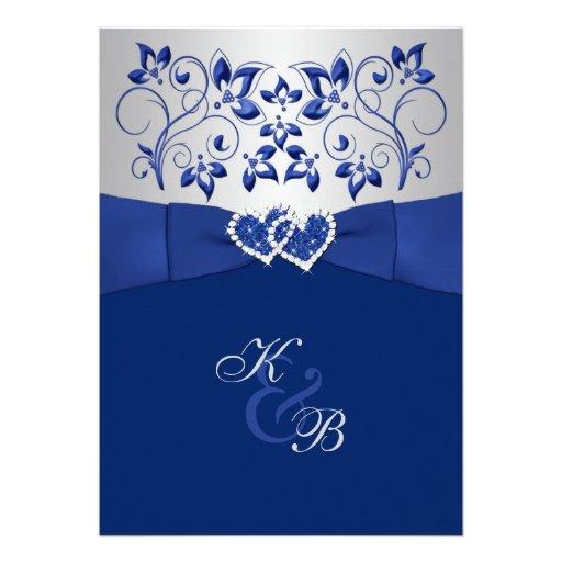 Azul real e invitación unida plata 2 de los corazo