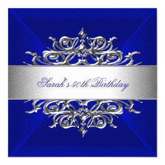 Azul real en la 50.a fiesta de cumpleaños de la invitación 13,3 cm x 13,3cm