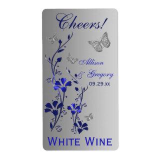 Azul real, etiqueta floral de plata 2 de la botell etiquetas de envío