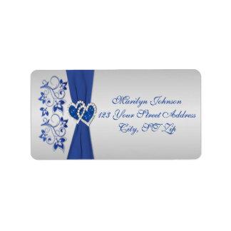 Azul real, etiquetas florales de plata 2 del remit etiqueta de dirección