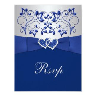 Azul real, floral de plata, corazones que casan invitación 10,8 x 13,9 cm