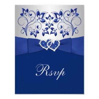 """Azul real, floral de plata, corazones que casan invitación 4.25"""" x 5.5"""""""
