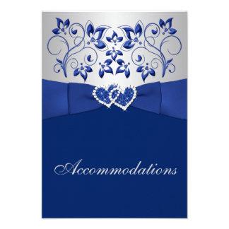Azul real floral de plata tarjeta del recinto de invitaciones personales