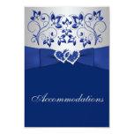Azul real, floral de plata, tarjeta del recinto de invitación 8,9 x 12,7 cm