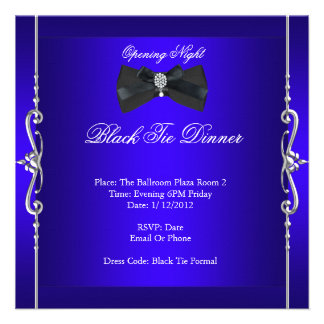 Azul real formal del lazo negro de la noche de la  invitacion personalizada