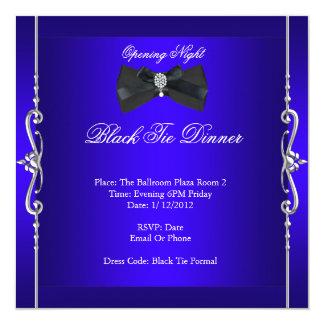 Azul real formal del lazo negro de la noche de la invitación 13,3 cm x 13,3cm