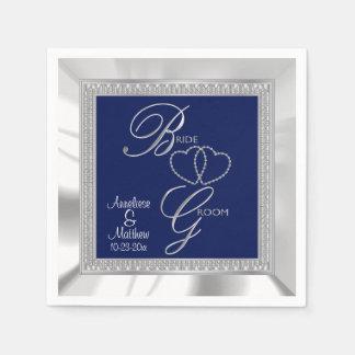 Azul real hermoso, plata y boda blanco del satén servilletas de papel