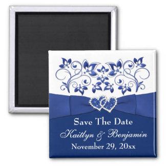 Azul real, imán floral blanco 2 del favor del boda