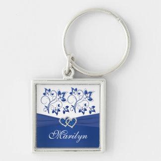 Azul real, llavero floral blanco de los corazones