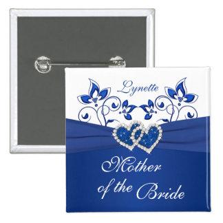 Azul real, madre floral blanca del Pin de la novia Pin Cuadrada 5 Cm