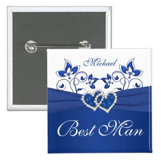 Azul real, mejor Pin floral blanco del hombre Pin Cuadrada 5 Cm