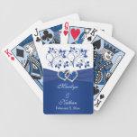 Azul real, naipes florales blancos del boda cartas de juego