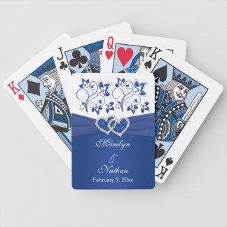 Azul real naipes florales blancos del boda cartas de juego
