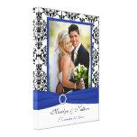 Azul real, negro, lona blanca del boda del damasco lona envuelta para galerias