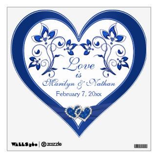 Azul real, pared floral blanca del boda/etiqueta d