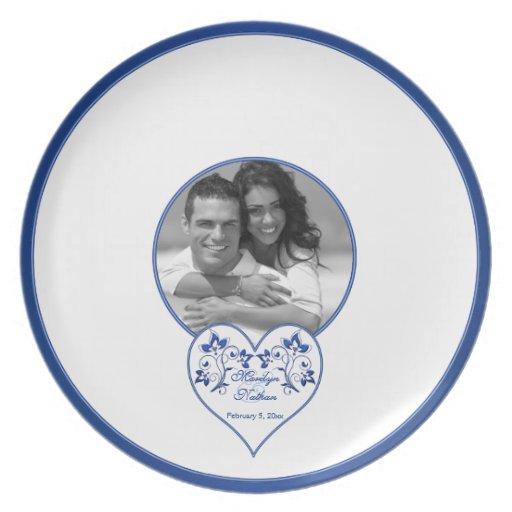 Azul real, placa de firma floral blanca de la hués platos para fiestas