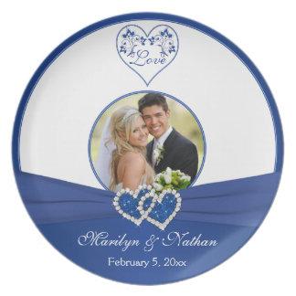 Azul real, placa floral blanca del boda del corazó platos