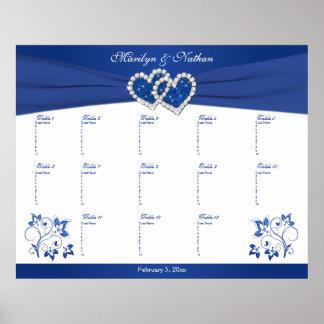 Azul real, poster floral blanco del asiento de la