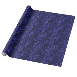 Azul real - ramas del pino - papel de lino del