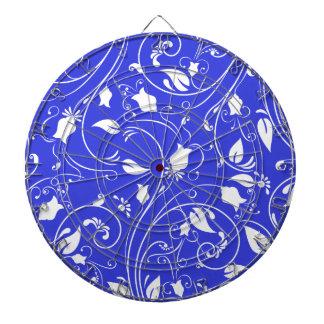 Azul real, remolinos florales blancos; Flores Tablero De Dardos