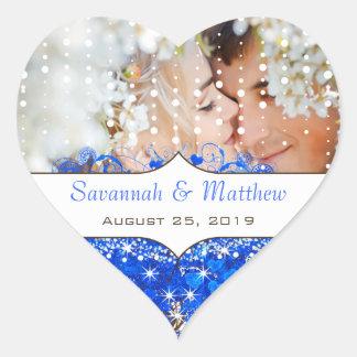 Azul real su hoja romántica del corazón de la foto pegatina en forma de corazón