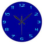 Azul real y aguamarina llanos > RoundClocks llano Relojes