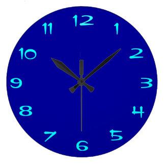 Azul real y aguamarina llanos > RoundClocks llano Reloj Redondo Grande