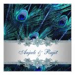 Azul real y boda de plata del pavo real del azul invitación 13,3 cm x 13,3cm
