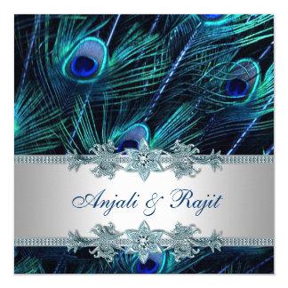 """Azul real y boda de plata del pavo real del azul invitación 5.25"""" x 5.25"""""""