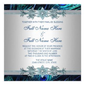 Azul real y boda indio real de plata del pavo real invitación