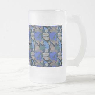 Azul real y Brown de Cockscomb del gallo abstracto Taza De Cristal
