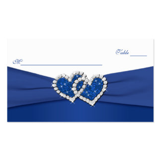 Azul real y corazones unidos blanco Placecards Plantilla De Tarjeta De Negocio