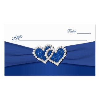 Azul real y corazones unidos blanco Placecards Tarjetas De Visita