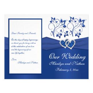 Azul real y corazones unidos blanco que casan prog tarjetas informativas