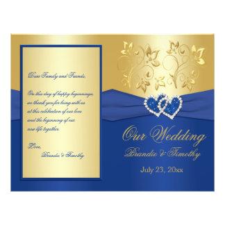 Azul real y corazones unidos oro que casan program tarjetas publicitarias