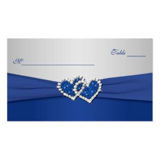 Azul real y corazones unidos plata Placecards Tarjeta De Visita