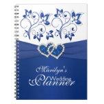 Azul real y cuaderno floral unido blanco de los co