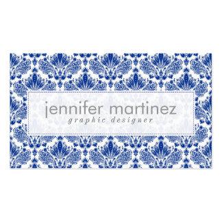 Azul real y damascos y remolinos elegantes del bla tarjetas de visita