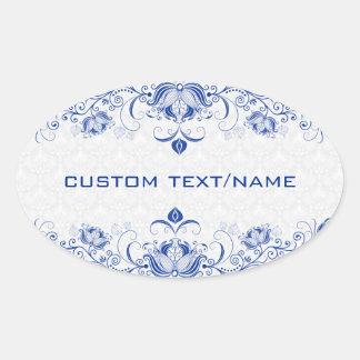 Azul real y damascos y remolinos elegantes del pegatina ovalada