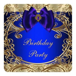 Azul real y fiesta de cumpleaños del oro invitación 13,3 cm x 13,3cm