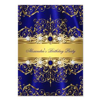 """Azul real y fiesta de cumpleaños elegante del invitación 5"""" x 7"""""""
