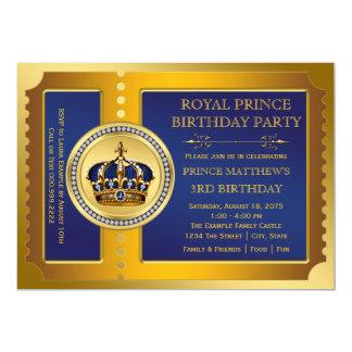 """Azul real y fiesta del príncipe cumpleaños del oro invitación 5"""" x 7"""""""