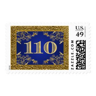 Azul real y franqueo floral 110 2 del oro timbres postales
