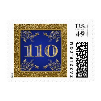 Azul real y franqueo floral 110 del oro sello