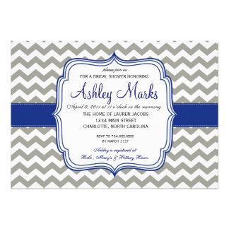 Azul real y gris Chevron Invitaiton Invitación Personalizada