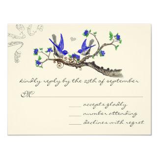 """Azul real y gris WeddingRSVP del vintage Invitación 4.25"""" X 5.5"""""""