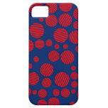 Azul real y lunares rayados rojos iPhone 5 protectores