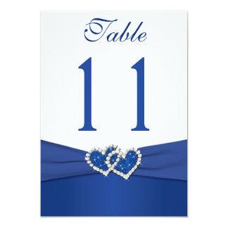 Azul real y número unido blanco de la tabla de los invitación 12,7 x 17,8 cm