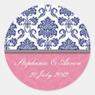 Azul real y pegatina rosado del boda del damasco